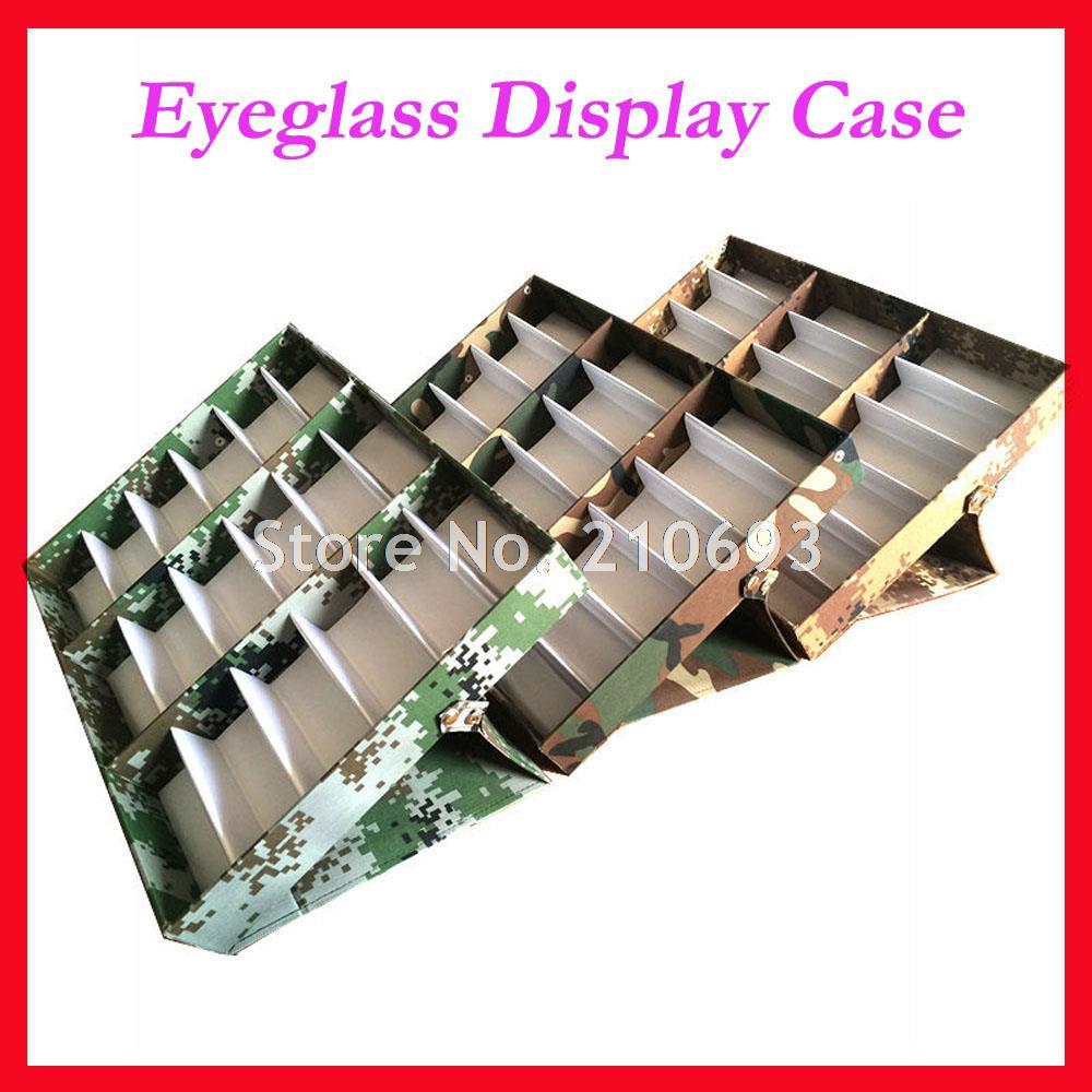 Eyeglasses display - Free Shipping 18c Camo Sunglasses Display Case Eyeglass Display Box Suitcase For Holding 18pcs Of Sunglasses