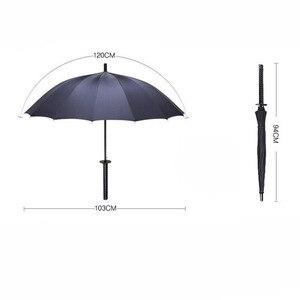 Image 2 - الإبداعية مقبض طويل كبير يندبروف سيف ساموراي مظلة اليابانية النينجا تشبه الشمس المطر مستقيم المظلات التلقائي المفتوحة