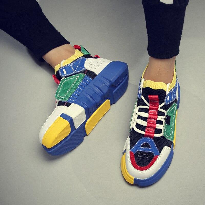 נוח לנשימה זוג נעלי עור אמיתי נשים גברים פלטפורמת נעלי סניקרס זכר נקבה לגפר נעלי ססגוניות