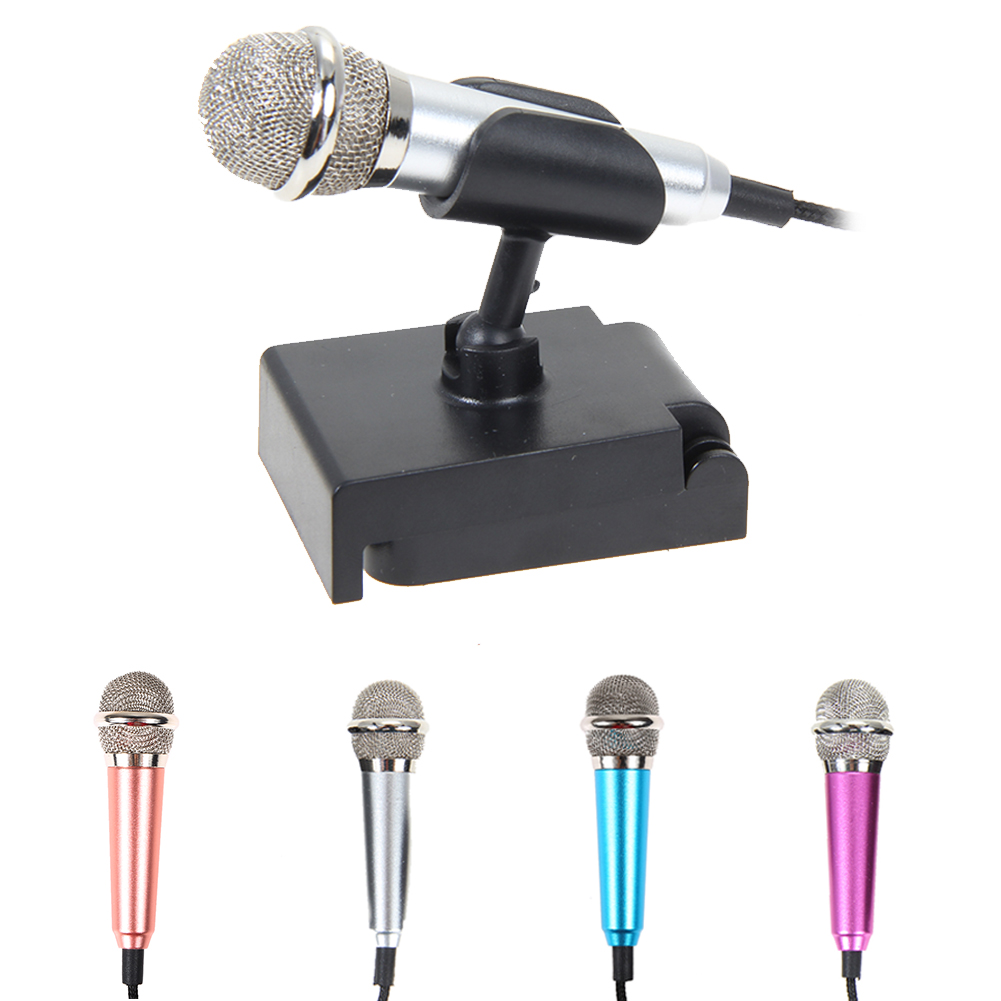 audio plug wired mini microphone portable stereo condenser with mic stand for chatting. Black Bedroom Furniture Sets. Home Design Ideas