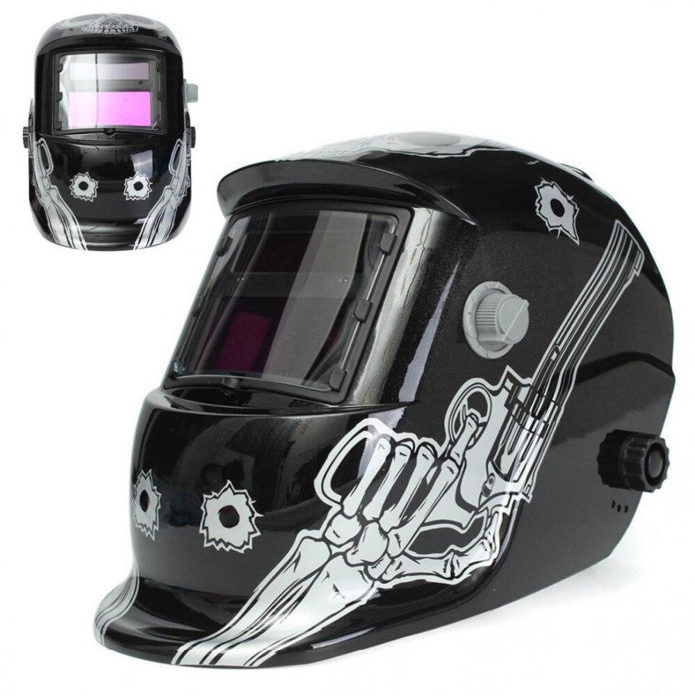 Universal Fashionable Desigh Comfortable Solar Welder Mask Electrowelding Auto Darkening TIG MIG Welding Helmet Skull with Gun  цены