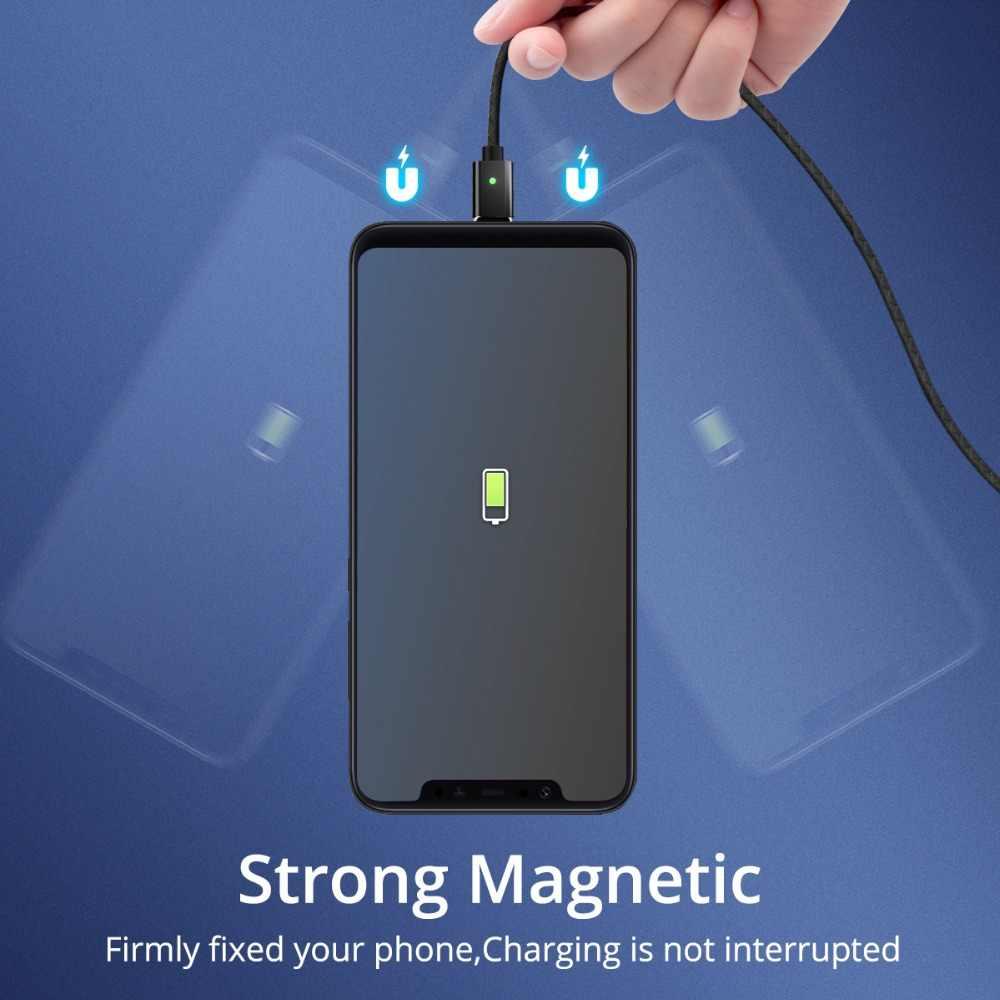 Micro câble magnétique USB C Type C 3A Charge rapide 1m 2m Android Mobile chargeur rapide aimant cordon de USB C cordon de données de téléphone
