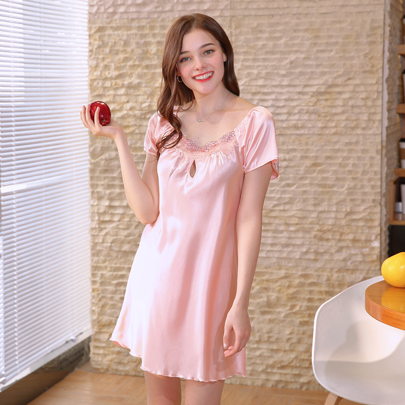 Summer Women   Nightgowns   Lace Short Sleeve   Sleepshirts   14color Silk-Like Sexy Sleepwear Stain Nightdress Lingerie Plus SizeM-4XL