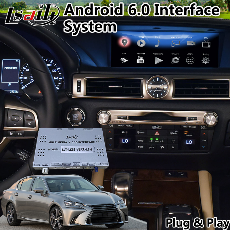 Lsailt gps navigation android 6 0 / 8 0 multimedia car video interface for  Lexus GS 200t Mouse Control 2016-2018 year