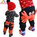 He hello enjoy pantalones de los muchachos 2017 de otoño invierno de los bebés de los pantalones niños chicas leggings imprimir Un cangrejo de dibujos animados ocasional del cordón pantalones harén