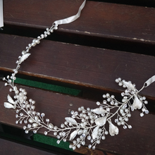 Elegant Pearls Bridal Hair Vine Crown Antique Silver Leaf Wedding headpiece Party Prom Jewelry Brides Headband