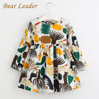 Bear Leader Girls Dress 2016 New Autumn England Style Girls Clothes Long Sleeve Cartoon Forest Animals