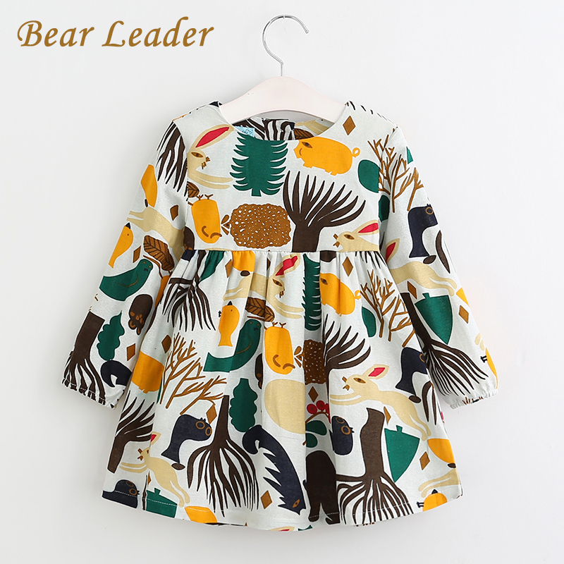 Bear Leader Girls Dress New Spring Casual Style Girls Clothes Long Sleeve Cartoon Forest Animals Graffiti for Kids Dresses цена