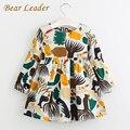Bear leader meninas vestido 2017 outono nova inglaterra estilo meninas roupas forest animals graffiti dos desenhos animados para crianças vestidos de manga longa