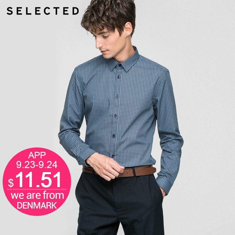 SELECTED Brand 2017 NEW font b men b font high quality fashion long sleeve dot print