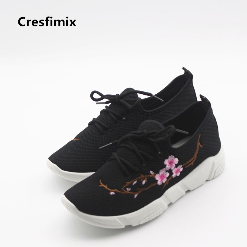 Cresfimix women cute black floral lace up shoes female soft and comfortable spring shoes lady cool summer flat shoes zapatos cresfimix women casual breathable soft shoes female cute spring