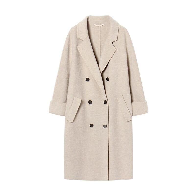 De Mode Nouvelle Laine Longue Pleine Coréenne Breasted Lâche Femme Mélange Solide Beige Manteau Femmes Pour Veste Manches Double SSgPnqa1w
