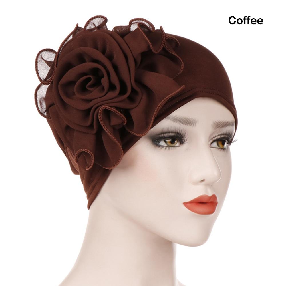 1 Pc Elegante Kant Bloem Ruche Moslim Hijab Islamitische Jersey Vrouwen Tulband Chemo Hoed Sjaal Dames Mode Winter Warm Head Wrap Cap