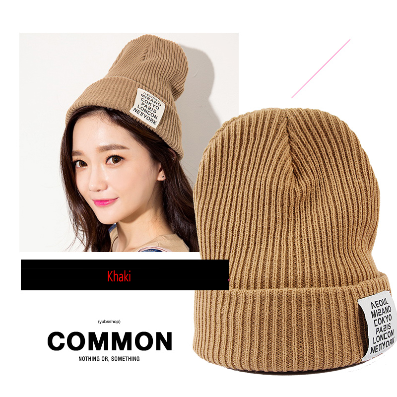 Cheap Promotions 2016 Skullies Caps Women Warm  Knit Hat Wool Female Winter Hat Cap Men Thickening Letters Couple Knitted Cap skullies