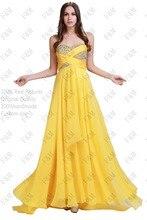 Frete Grátis 2016 Sweetheart Frisada A-line Até O Chão Da Dama de Honra Vestido Amarelo Prom vestidos vestidos de fiesta Party Girl Costume(China (Mainland))