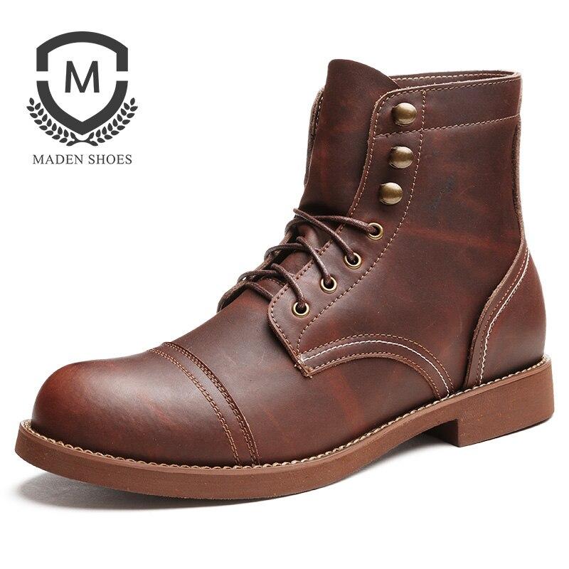 Maden Martin Botas Homens Tornozelo Sapatos Casuais Preto Cera Marrom Do Vintage Clássico Estilo Korea Couro Waxy do Trabalhador Wearable Round- do dedo do pé