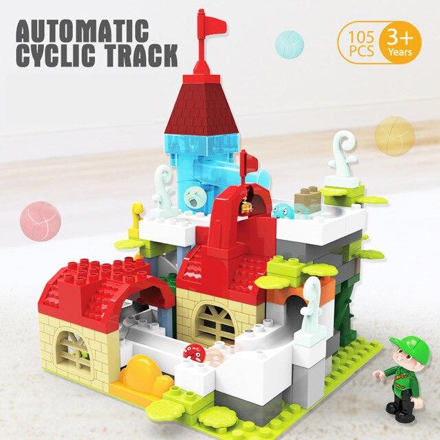 Nouvelle offre spéciale piste cyclique automatique 105 pièces boule électrique course piste blocs de construction compatibles Legoing Duplo briques jouets