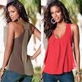 Mulheres quentes de Verão Casual Solto Tops T-Shirt Sem Mangas Chiffon Colete Plus Size Atacado