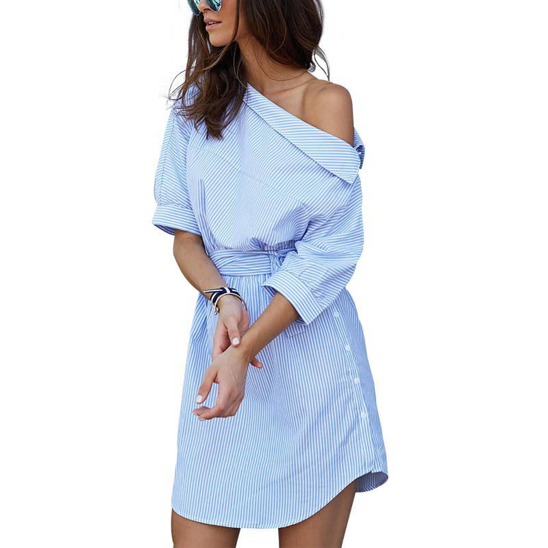 One Shoulder Blue Striped Summer Dress 2018 Fashion Women Lantern Sleeve Belt Casual Dress Sexy Beach Party Mini Dress