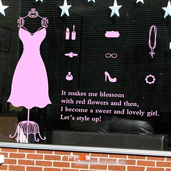Clothing store window vinyl decal princess womens dress wall sticker cutomised clothes shop decoration sexy girl glass sticker in wall stickers from home
