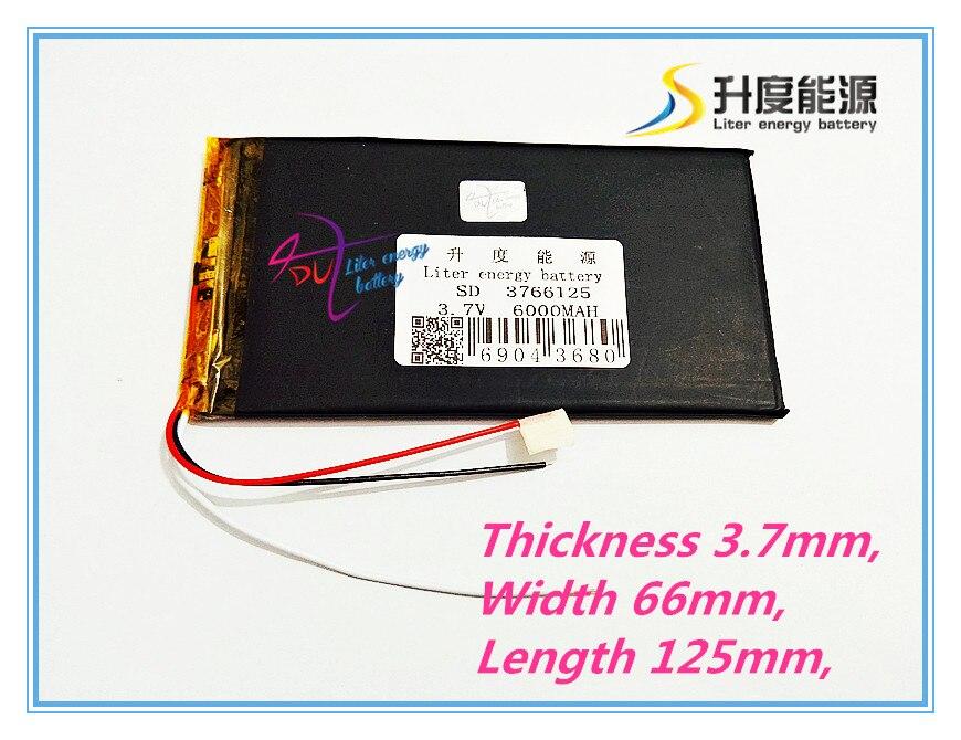 3 line 3766125 3.7V 6000mAh Polymer lithium ion / Li-ion battery for tablet pc V811V801 E708 Q1