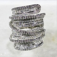 Luxury Pave set full Square T 5a Zircon CZ stone ring jewelry Women 14KT White Gold Filled Cocktail Band Rings size 5 10