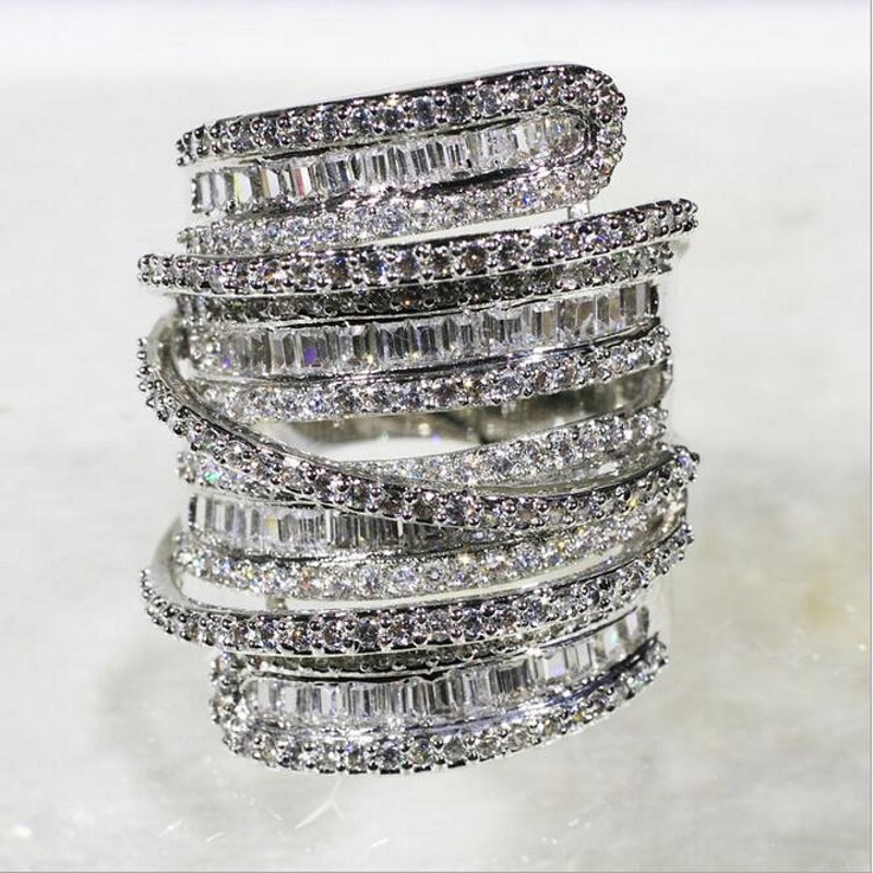Luxury Pave set full Square T 5a Zircon CZ stone ring jewelry Women 14KT White Gold Filled Cocktail Band Rings size 5-10