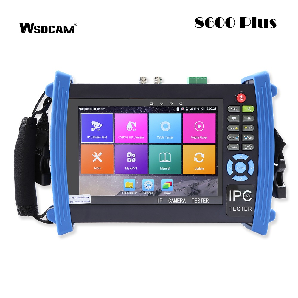 7 Inch 1080P IP Camera Tester CCTV Analog Tester with POE/IP discovery/WIFI/4K H.265/HDMI In&Out/RJ45 TDR 8600-Plus