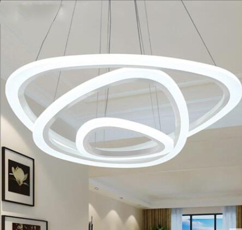 European family modern minimalist led restaurant living room personality chandelier round bedroom acrylic ring lighting fixture