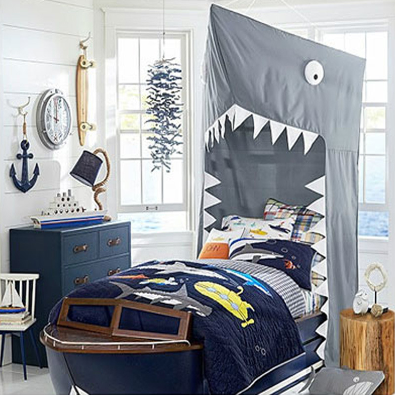 Creative Bed Mosquito Net Cute Shark Bed Canopy Nordic Kids Hanging Teepees Play Tent Bedroom Bed Curtain Decor Photo Props sea shark polyester waterproof shower curtain bath decor
