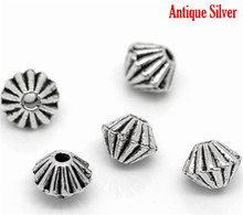 DoreenBeads 200 шт серебряный цвет маленькие Биконусы бусины фурнитура 4x4 мм (B02878), yiwu