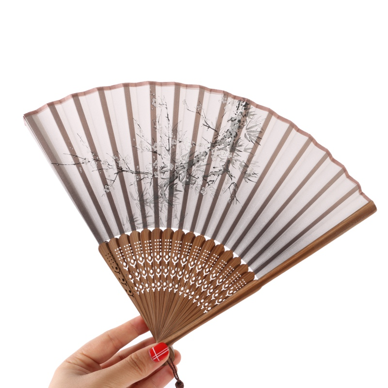 Classic Bamboo Silk Blend Japanese Chinese Handmade Pocket Fan Folding Hand Held Fan Handcraft Festival Gifts