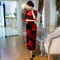 YZ Black Red Print Sexy Traditional Chinese Women Dress Velvet Vintage Flower Qipao Lady Slim Long