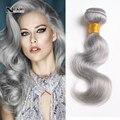 Brasileiro onda do corpo do cabelo humano virgem cinza cabelo Weave 100 g 7A brasileiro extensão do cabelo da onda do corpo 3 pçs/lote pacotes Silver Grey