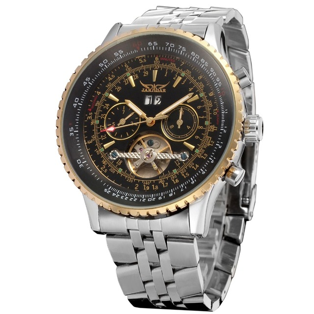 Jaragar Big Dial Aviator Series Military Scale Gold Elegant Dial Tourbillon Design Mens Watches Luxury Automatic Wrist Watch