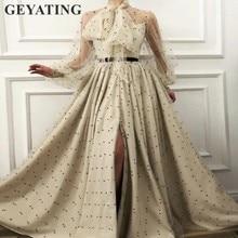 Elegant Muslim Evening Dresses Long Sleeves High Neck Split