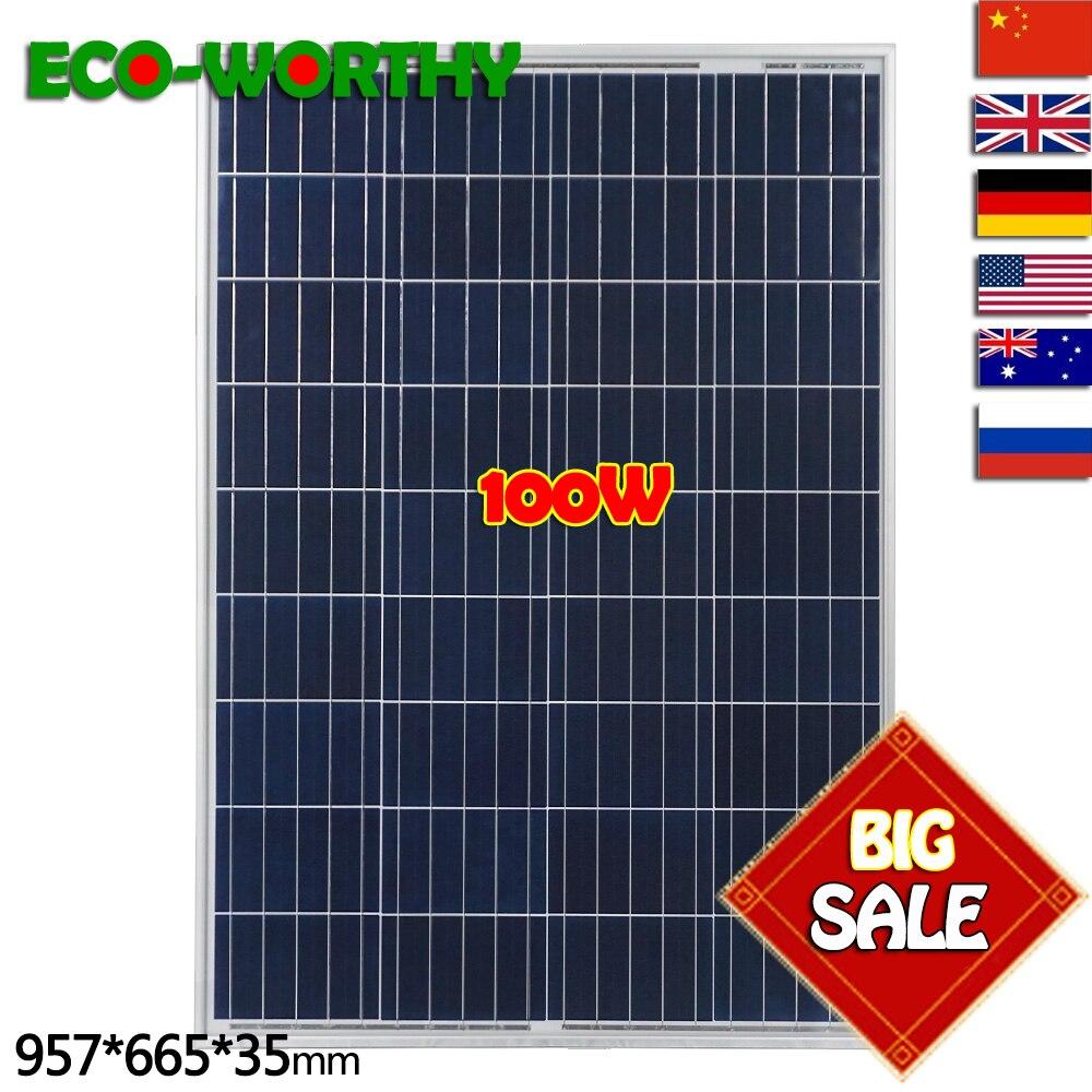 DE/Великобритания наличии Нет налога 100 Вт 18 в поликристаллическая солнечная панель для 12 Батарея система Off-grid солнечной системы дома Беспла...