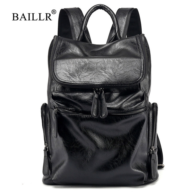 2019 New Casual Large capacity Backpacks for Men Travel bags Laptop Computer backpacks pu Leather Men Business bags High quality