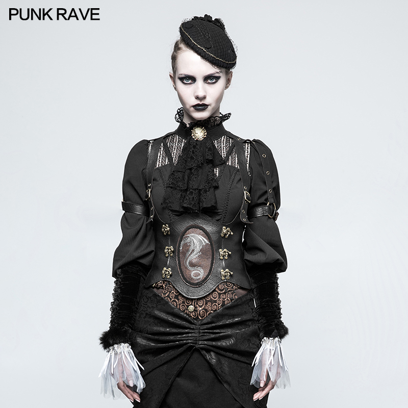 Punk Rave Steampunk Western Dragon Girdle Sexy Vest PU Leather Gothic Stage Performance Co0splay Costumes
