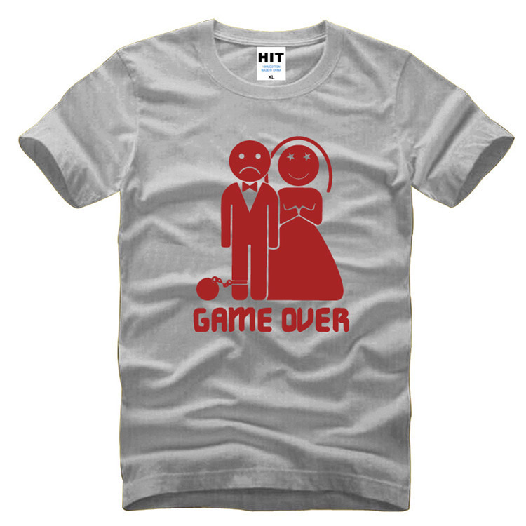 Game Over Marriage Ball And Chain Funny Wedding Gift Mens Men T Shirt T-shirt Fashion 2016 Short Sleeve O Neck Casual Tshirt Tee