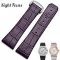 17 23mm frauen Leder Straps für Omega Uhr Konstellation Doppel Adler Uhrenarmbänder Handgelenk Armband Weibliche Gürtel Rot Lila uhr-in Uhrenbänder aus Uhren bei