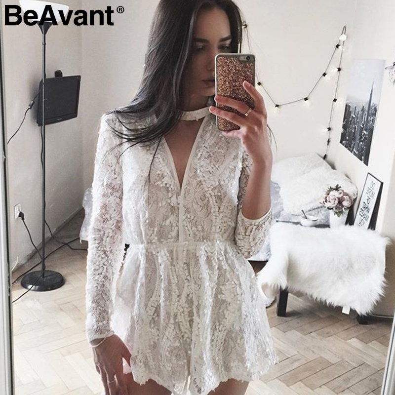 BeAvant 2018 White lace sequin jumpsuit romper Sexy v neck beach jumpsuit overalls Elegant long sleeve summer jumpsuit playsuit