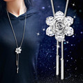Trendy Tassel Crystal Flower Long Pendant Necklace Women Winter Sweater Jewelry Accessories All Match