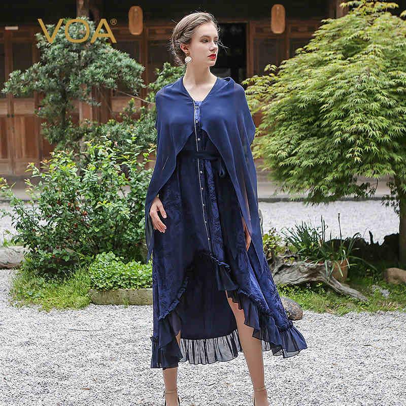 VOA 2018 Весна темно синий шелк плащ женское винтажное длинное платье с оборками модное поддельное пляжное нарядное платье макси ALA01001
