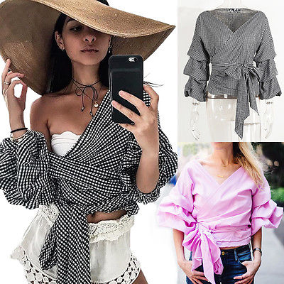 ab532953b5be6 New Women Bardot Top Ruffle Sleeve Waist Tie Cross Off Shoulder Shirt V-neck  Black and Pink Blouse