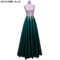 SOCCI Weekend Long Elegant Evening Dresses 2018 New Burgundy Sleeveless Appliques Lace Crystal Dress Women Banquet Prom Gowns