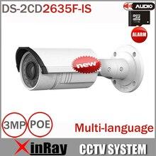 Multi-language IP Poe Cámara DS-2CD2635F-IS hasta Variable len 3MP 2.7-12mm H.265 Vedio Compresión Onvif soporte De Audio De Entrada/Salida
