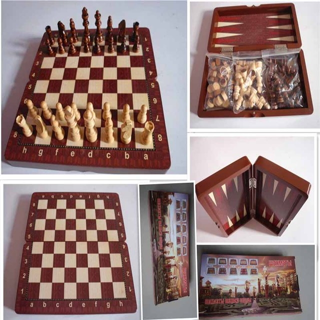 Folding Portable 3 In 1 Chess Wood Backgammon Games Set Standard