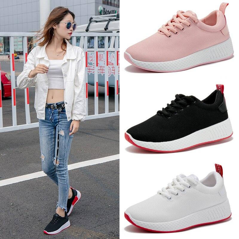 Plana Casual Zapatos Coreana 2018 Zapatillas blanco Nuevos De rosado Malla Los Moda Transpirable Negro Estudiante Mujer Versión BqWP8WSw