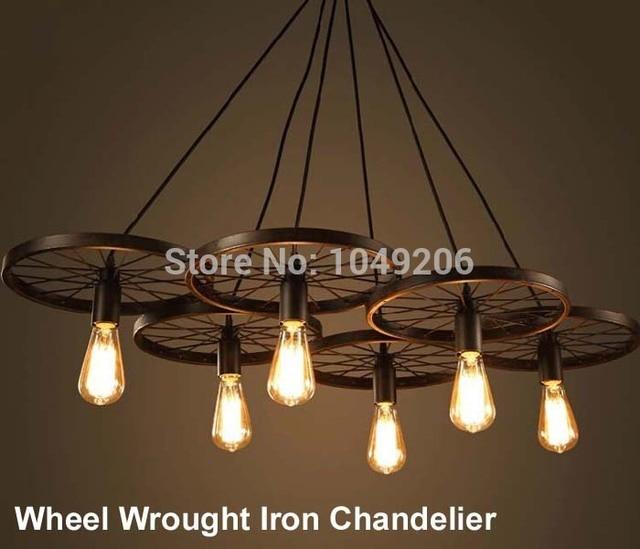 Loft Black Antique Wrought Iron Chandelier Lighting E27 110V 220V Loft  American Retro Edison Vintage Wheel - Loft Black Antique Wrought Iron Chandelier Lighting E27 110V 220V